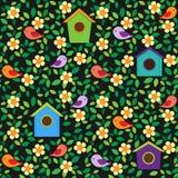 Fond d'oiseaux et de fleurs Image libre de droits