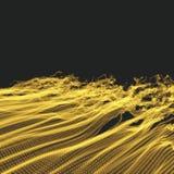 Fond d'onde Grille d'ondulation illustration abstraite de vecteur style de la technologie 3D Illustration avec des points illustration de vecteur