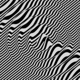 fond 3d ondulé Effet dynamique Conception noire et blanche Configuration avec l'illusion optique illustration stock