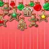 Fond d'Ornamental de biscuits de pain d'épice Photos libres de droits