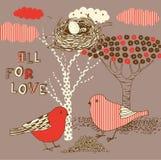 Fond d'Ove avec des oiseaux Photo stock