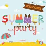 Fond d'été avec la typographie de crème glacée  Photographie stock libre de droits