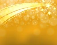 Fond d'étoile filante d'or Photographie stock libre de droits
