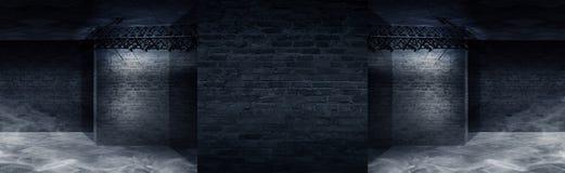 Fond d'un couloir vide avec la lampe au néon de mur de briques et Murs de briques, rayons au néon et lueur illustration stock