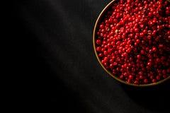 Fond d'un rouge ardent brûlant de noir d'ob de graine de piment Image stock