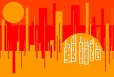 Fond d'un rouge ardent d'abrégé sur paysage urbain Image stock