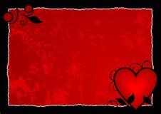 Fond d'un rouge ardent de coeur Photographie stock