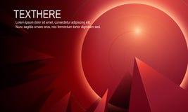 Fond 3d vif rouge lumineux abstrait avec la ligne moderne Vecto Photos stock