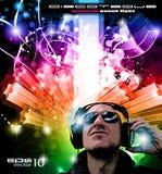 Fond d'événement de disco avec le jockey de disque Image libre de droits