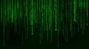 Fond dans un style de matrice Nombres aléatoires en baisse Le vert est couleur dominante Illustration de vecteur Images libres de droits