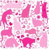 Fond de bébés avec des chats Photographie stock libre de droits
