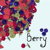Fond de baie, graphiques lumineux, fraises, illustration stock