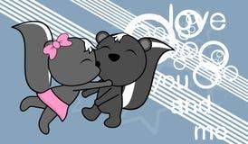 Fond de baiser doux de bande dessinée de mouffette de bébé garçon et de fille d'amour illustration libre de droits
