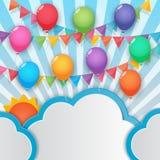 Fond de ballon et de ciel de drapeaux de partie Photo stock