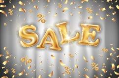 Fond de ballons de vente d'or de vecteur sur les bannières grises de magasin de rideau, la publicité, achats Logo, logotype, sign illustration de vecteur