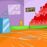 Fond de bande dessinée de terrain de basket Images libres de droits