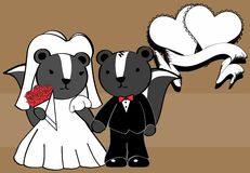 Fond de bande dessinée marié par mouffette douce illustration de vecteur