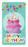 Fond de Baner de carte de joyeux anniversaire avec le gâteau et les drapeaux Vecto Image stock