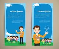 Fond de bannière d'enfants de professeur d'éducation Photos libres de droits