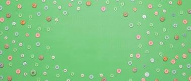 Fond de bannière du cadre ornemental des textes des boutons colorés Photos libres de droits