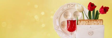 Fond de bannière de site Web de concept de célébration de Pesah (vacances juives de pâque) Images libres de droits