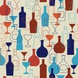 Fond de barre avec des bouteilles et des verres Photographie stock