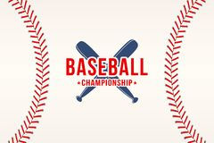 Fond de base-ball La boule de base-ball lace, pique la texture avec des battes Image libre de droits