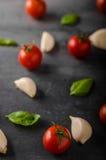 Fond de basilic d'ail de tomate Images stock