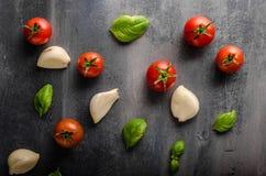 Fond de basilic d'ail de tomate Photo libre de droits