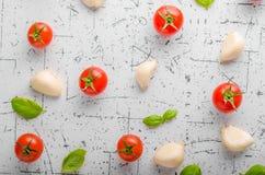 Fond de basilic d'ail de tomate Images libres de droits