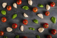 Fond de basilic d'ail de tomate Photos stock