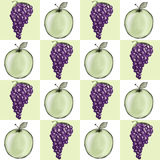 Fond de batterie d'Apple et de raisin Photographie stock