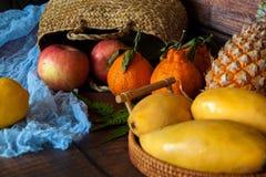 Fond de beaucoup de différents fruits exotiques photo stock