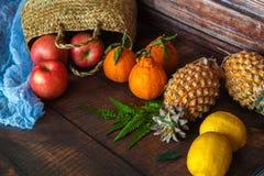 Fond de beaucoup de différents fruits exotiques photos stock
