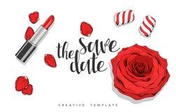 Fond de beauté avec des roses, pétales, bonbons Calibre élégant en rouge Images stock