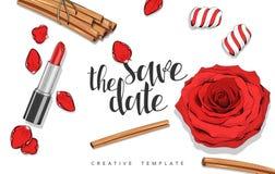 Fond de beauté avec des roses, pétales, bonbons Calibre élégant en rouge Photos stock