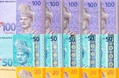 Fond de billets de banque de ringgit malaisien Crayon lecteur, lunettes et graphiques Photos libres de droits