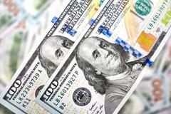 Fond de 100 billets d'un dollar Américain d'argent cent Bi du dollar Photographie stock libre de droits