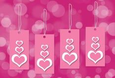 Fond de blanc d'étiquette d'amour de coeur Photo stock