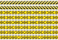 Fond de blanc de signe de ruban de précaution et de danger illustration stock