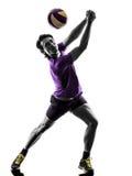 Fond de blanc de silhouette d'homme de joueur de boule de volée Images stock