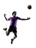 Fond de blanc de silhouette d'homme de joueur de boule de volée Image stock