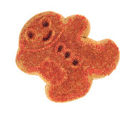 Fond de blanc de vue supérieure de biscuit de pain d'épice de bonhomme de neige de Noël Photo stock