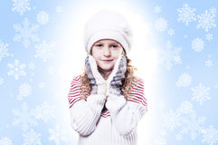 Fond de bleu d'éclaille de neige de fille de l'hiver Photos stock
