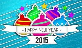 Fond de bleu d'Art Paper 2015 de bonne année de babioles illustration libre de droits