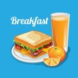 Fond de bleu d'illustration de vecteur de sandwich à petit déjeuner illustration stock
