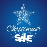 Fond de bleu de remise de vente d'étoile de Noël Photo libre de droits