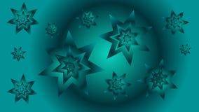 Fond de bleu de turquoise avec les étoiles et le cercle Images libres de droits