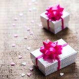 Fond de boîte-cadeau d'amour de vacances de jour de valentines Image libre de droits