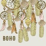 Fond de Boho avec des plumes et des coquilles illustration stock